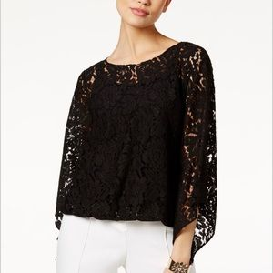 ALFANI Petite Cami Top with Attached Lace Overlay